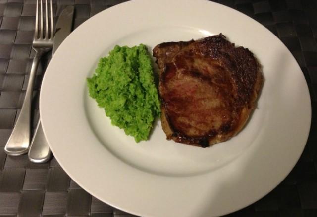 David's Steak with Pea Puree