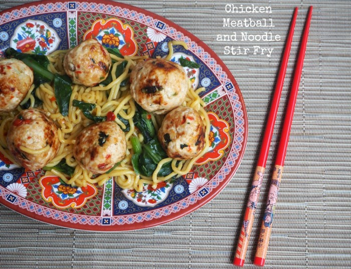 Chicken Meatball and Noodle Stir Fry