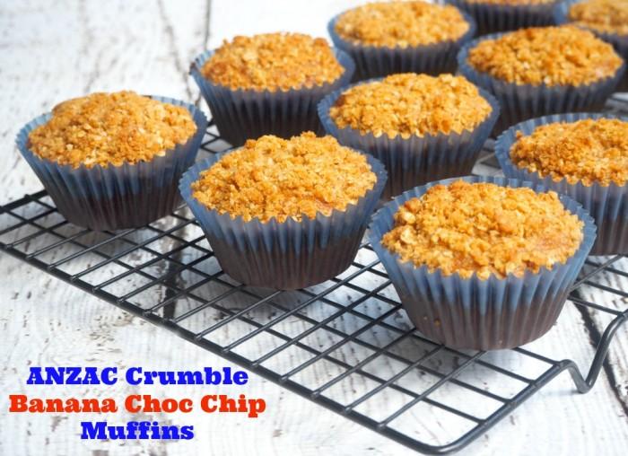 ANZAC Crumble Banana Choc Chip Muffins