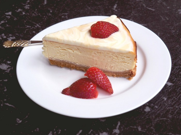 Luscious Lemon Baked Cheesecake slice
