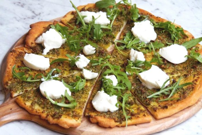 Pesto rocket and ricotta pizza 5