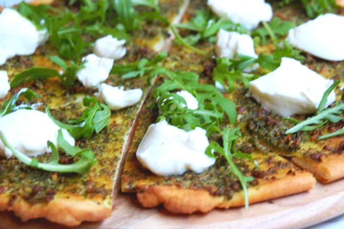 Pesto rocket and ricotta pizza 3