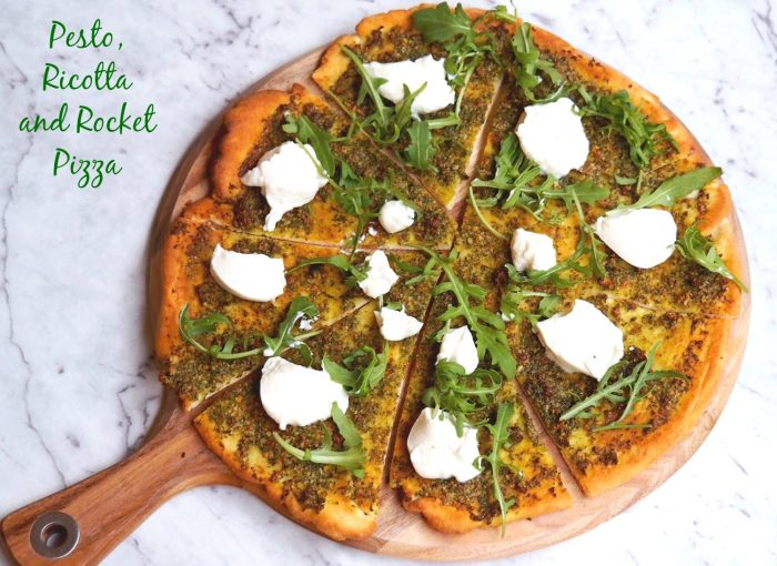 Pesto rocket and ricotta pizza