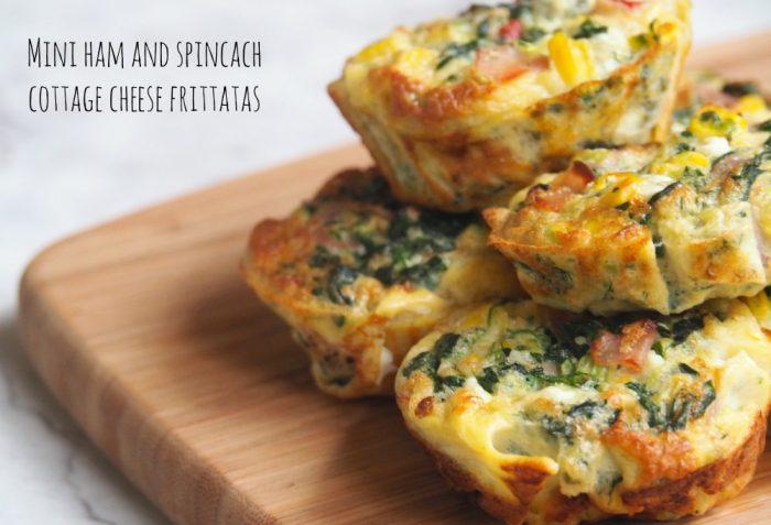 Ham and Spinach Cottage Cheese Frittatas
