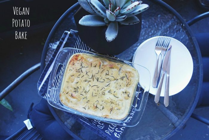 Vegan potato bake text