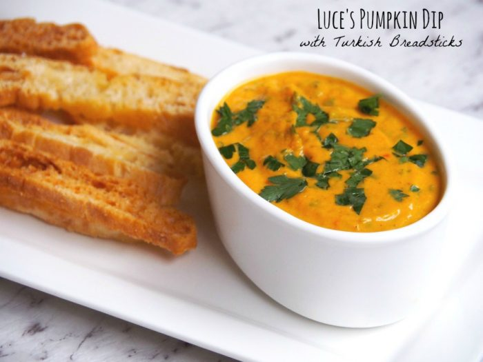 Luce's Pumpkin Dip with Turkish Breadsticks