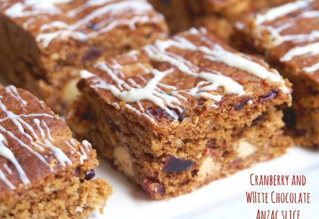 White Chocolate and Cranberry Anzac Slice