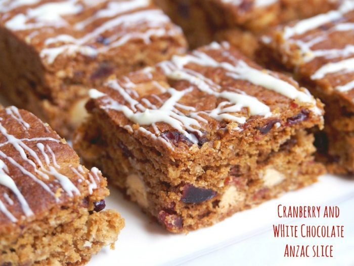 Cranberry and White Chocolate Anzac Slice 1