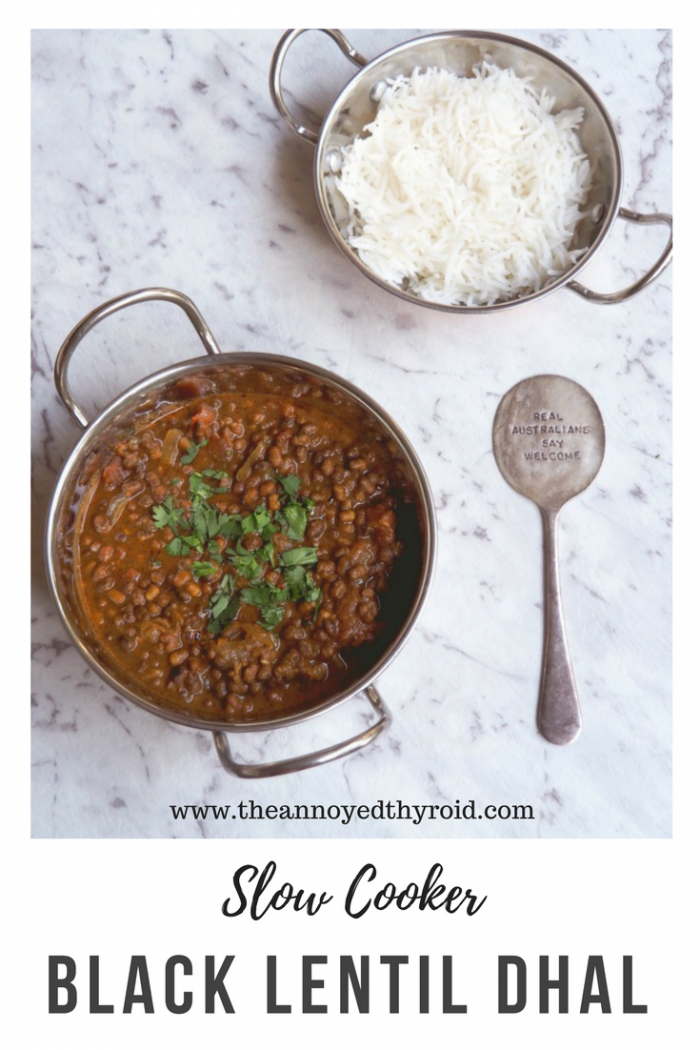 slow cooker black lentil dhal pin