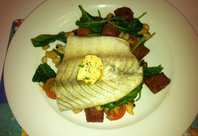 Crisp-skinned Fish with Mustard Butter