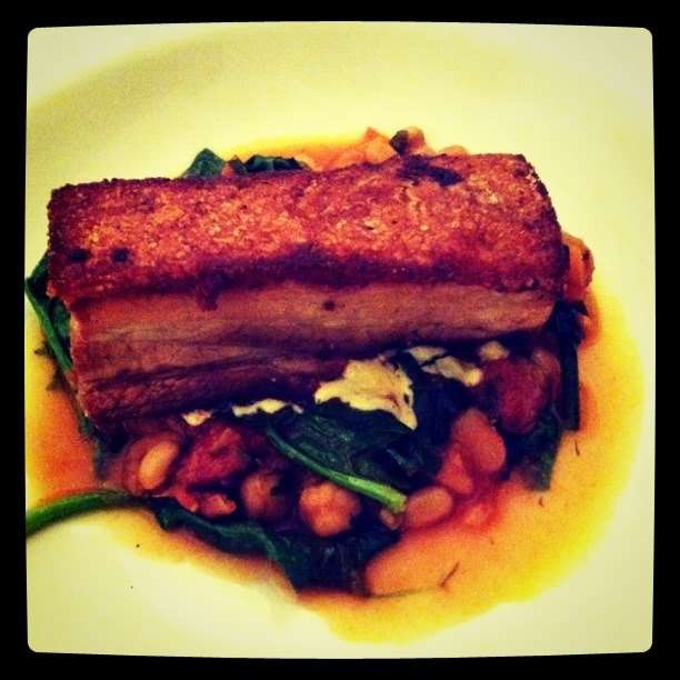 David's twice cooked pork belly, with chorizo, tomato, braised white beans and english spinach; Bistro Ceello, Orange