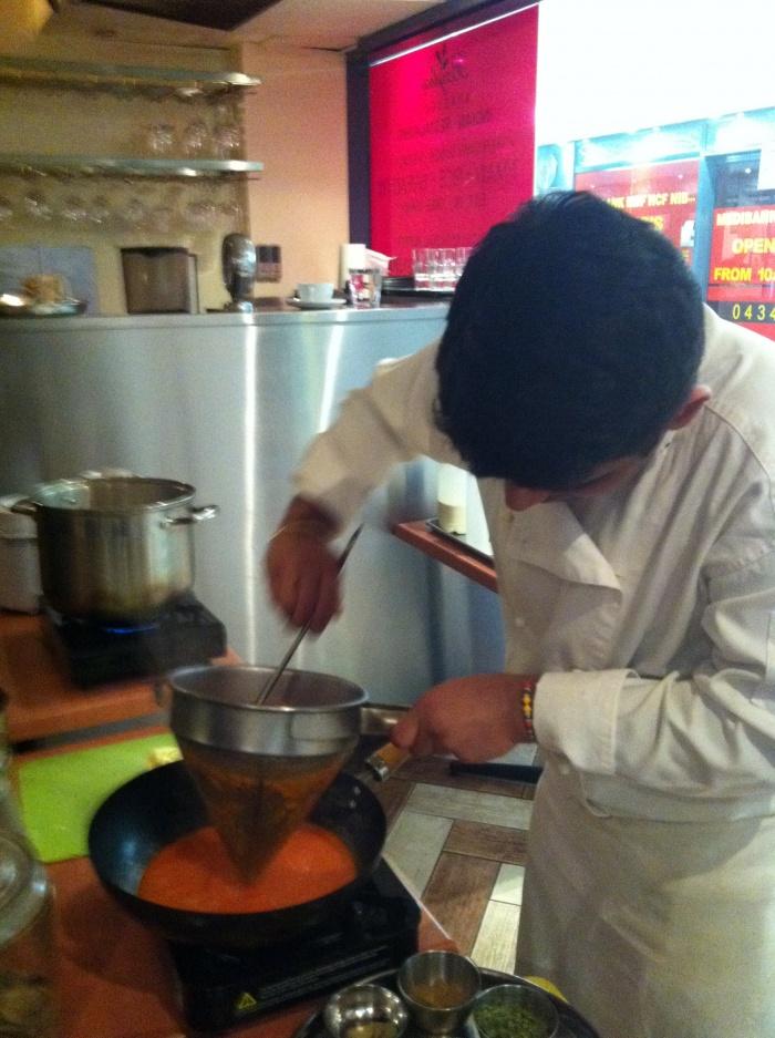 Straining Tomatoes, Bayleaf Restaurant