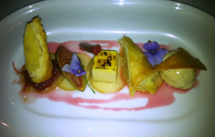 Warmed almond and pear cigar with fresh fig, poached rhubarb, praline and fig ice cream, Courgette, Canberra
