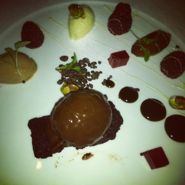 Assorted textures of chocolate with fresh raspberries, salted pistachio nuts and popping candy, Courgette, Canberra