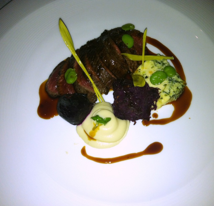 Course Number 3; are roasted loin of venison, Courgette, Canberra