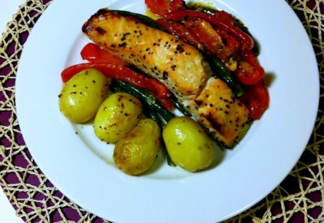 Sweet Mustard Salmon with Garlic Veggies