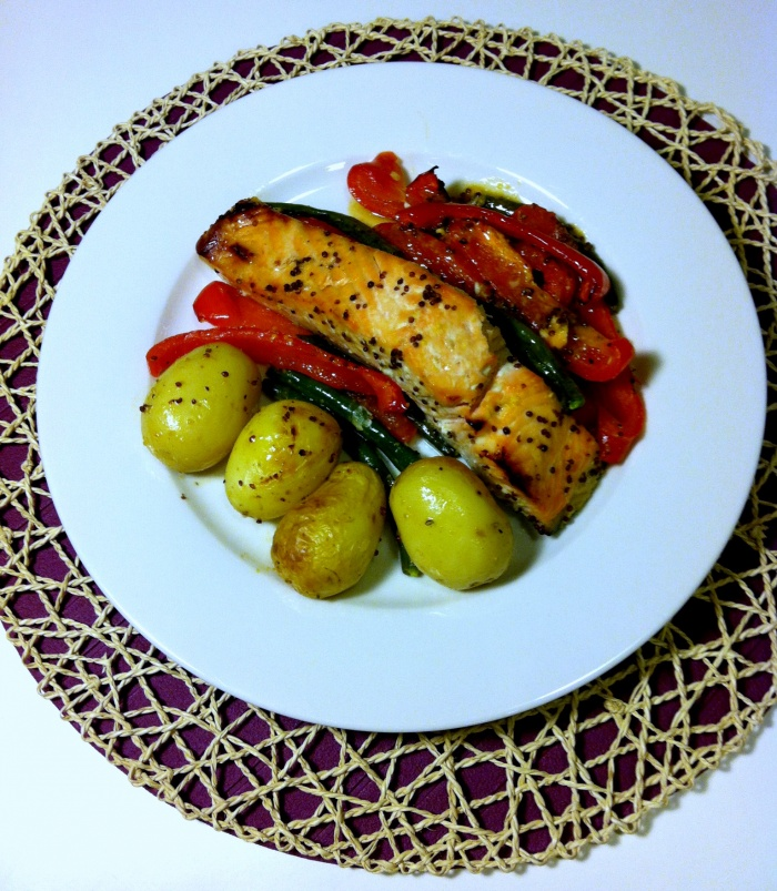 Sweet Mustard Salmon with Garlic Veggies