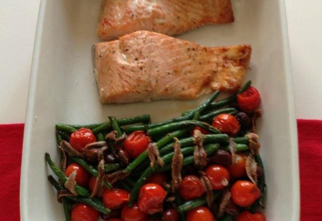 Jamie's Mediterranean Tray Baked Salmon