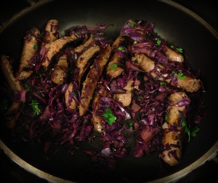 Sausages with Red Cabbage