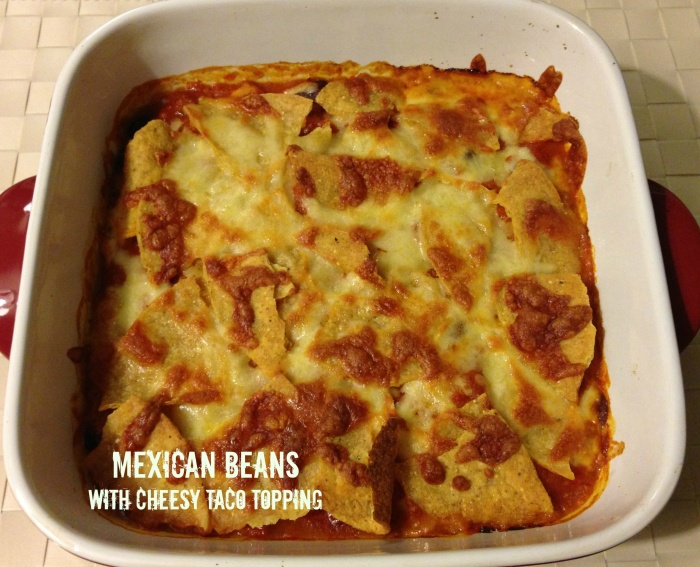 Meatless Monday - Mexican Baked Beans with Cheesy Taco Topping
