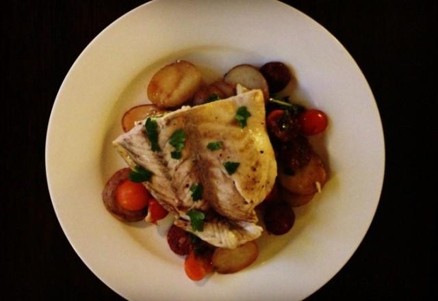 Slow Cooker Chorizo,  Potato and Barramundi One Pot