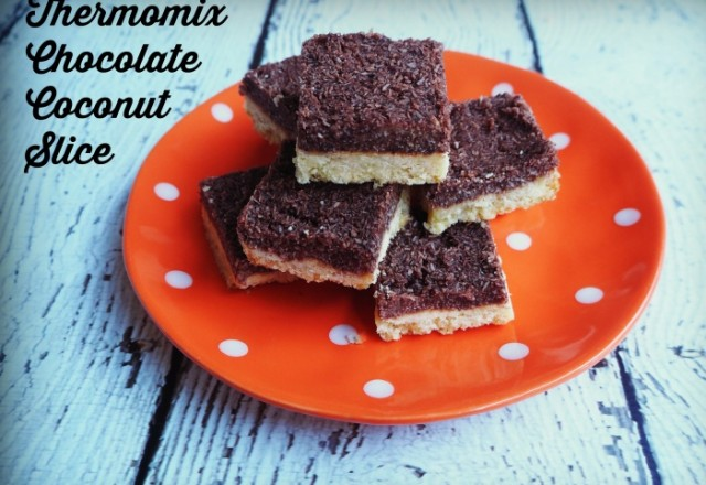 Thermomix Chocolate Coconut Slice