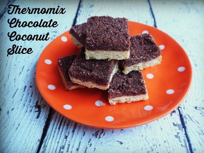 Thermomix Chocolate Coconut Slice