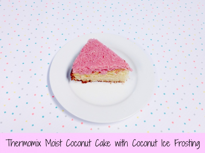 Thermomix Moist Coconut Cake with Coconut Ice Frosting