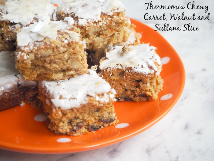 Thermomix Chewy Carrot, Walnut and Sultana Slice