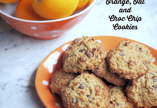 Orange, Oat and Choc Chip Cookies