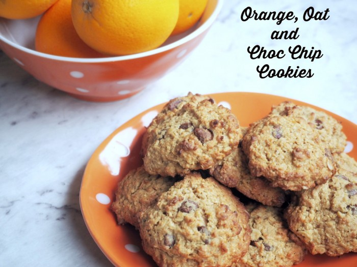 Orange oat choc cookies text