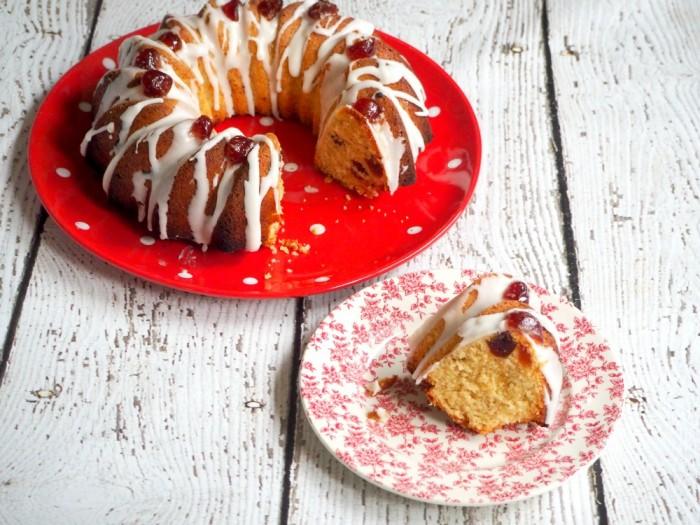 Cherry Cake with Lemon Icing
