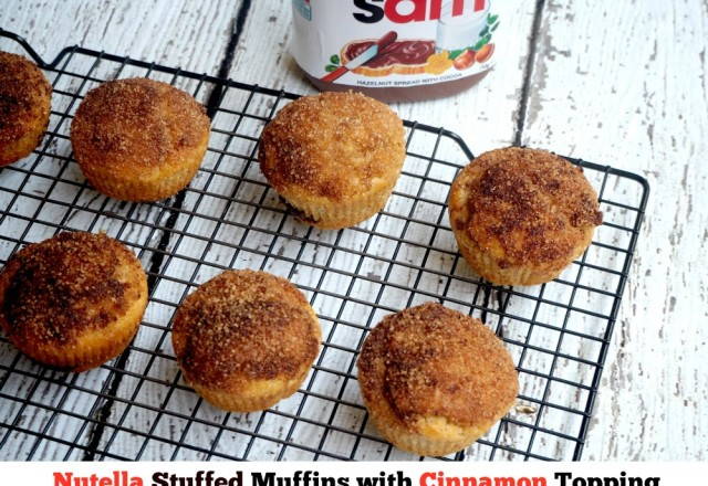 Nutella Stuffed Muffins with Cinnamon Topping