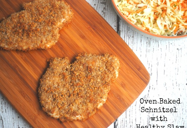 Oven Baked Chicken Schnitzel with Healthy Slaw