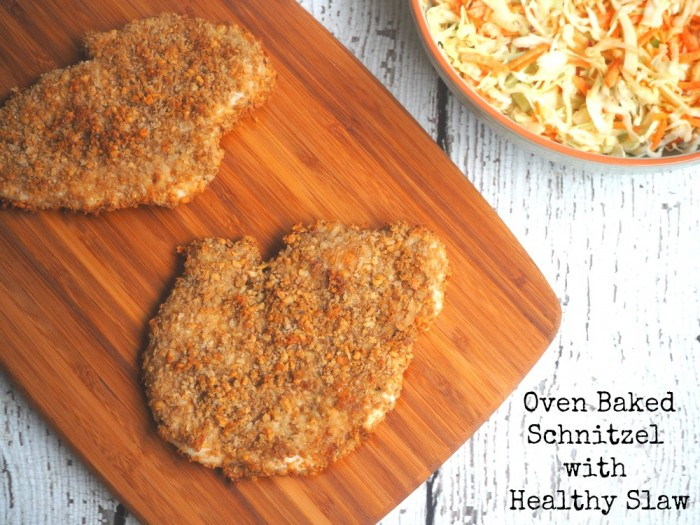 Oven Baked Schnitzel with Healthy Slaw
