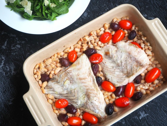 Roasted Fish in White Wine with Olives