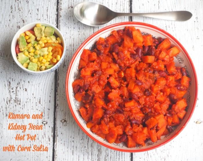 Kumara and Kidney Bean Hot Pot with Corn Salsa
