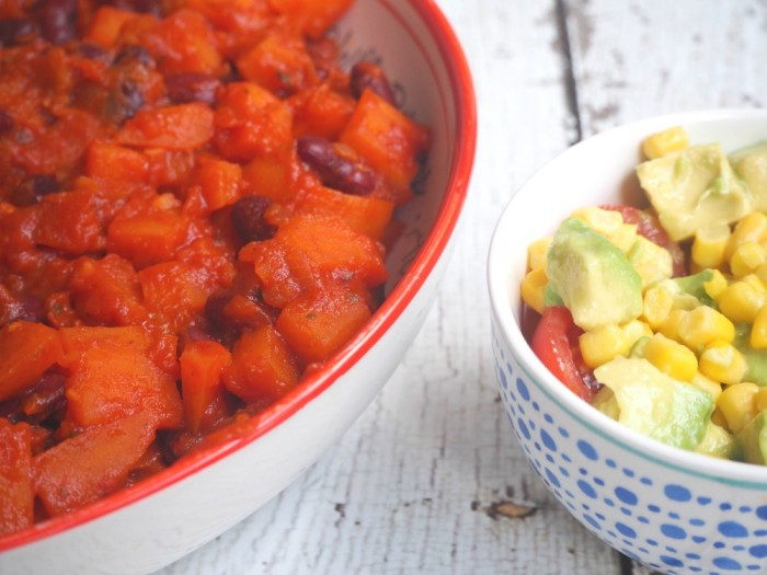 Kumara and Kidney Bean Hot Pot with Corn Salsa