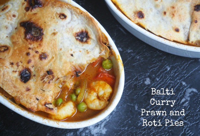 Balti Curry Prawn Roti Pies