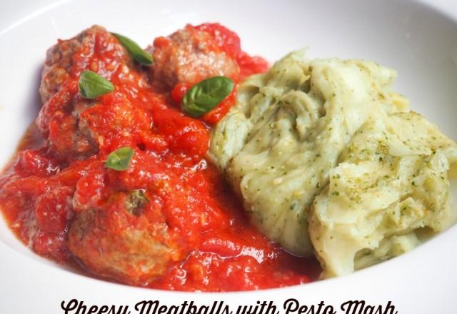 Cheesy Meatballs with Pesto Mash