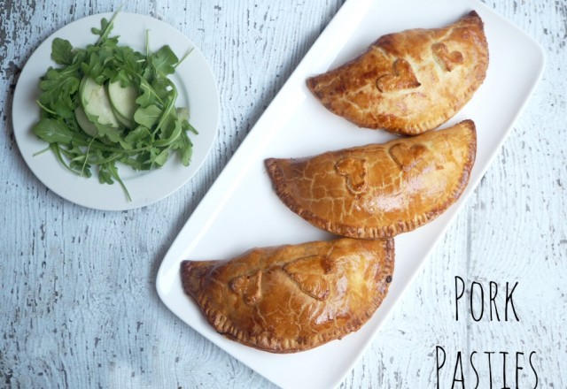 Pork Pasties with Apple, Rocket and Parmesan Salad
