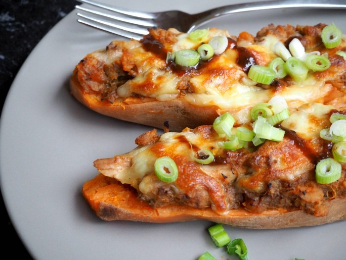 Pulled pork stuffed sweet potatoes