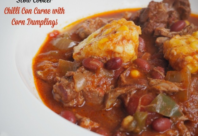 Slow Cooker Chilli Con Carne with Corn Dumplings