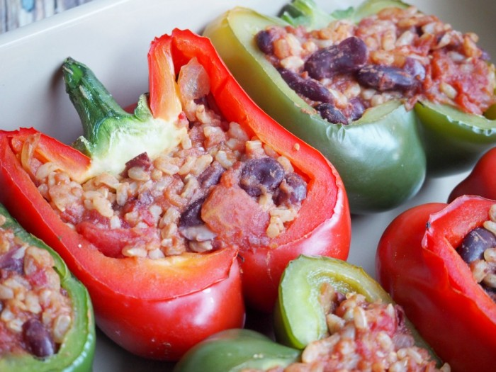 Rice and Bean Stuffed Peppers