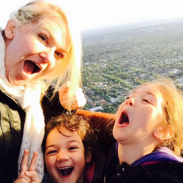 Kylie Travers and daughters in a hot air balloon