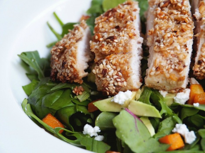 Dukkah Crusted Chicken with Pumpkin and Feta Salad 2