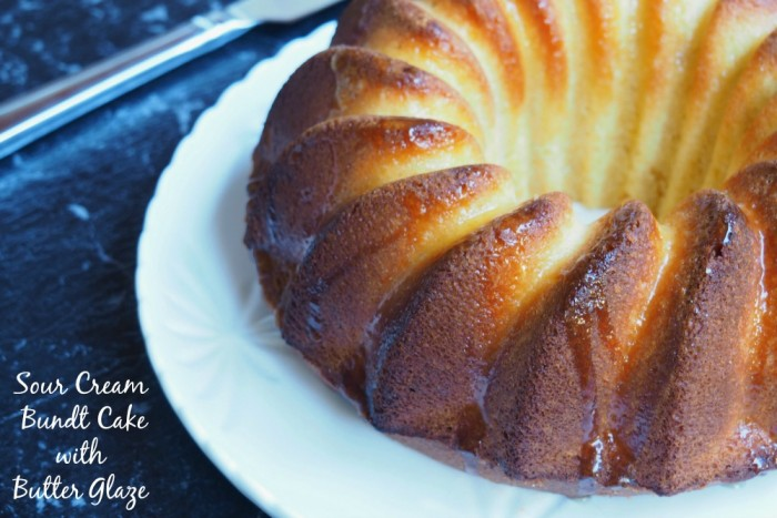 Sour cream bundt with butter glaze
