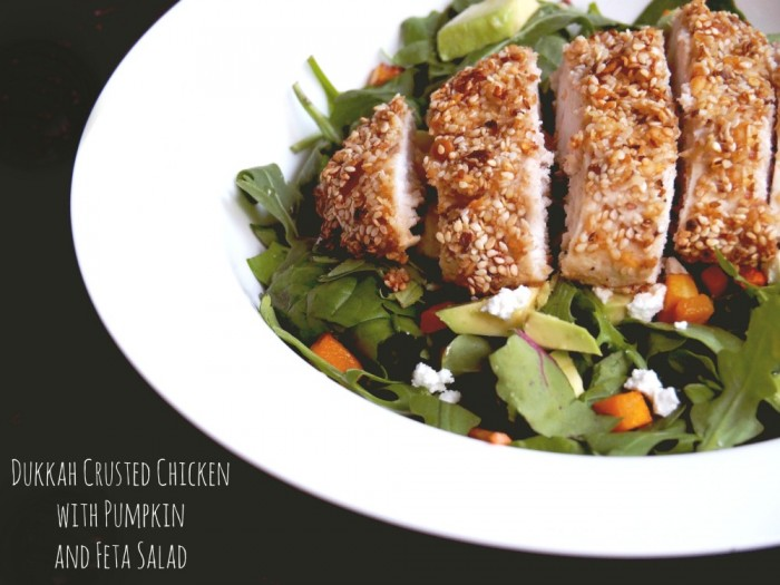 Dukkah Crusted Chicken with Pumpkin and Feta Salad