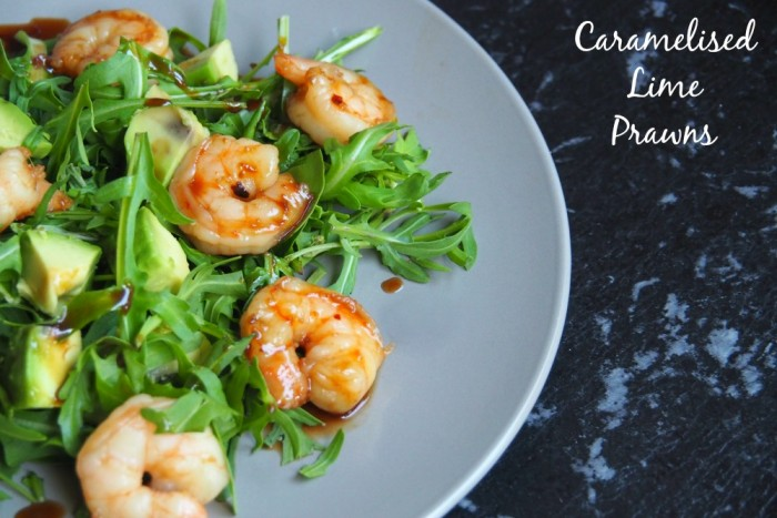 Caramelised prawns title