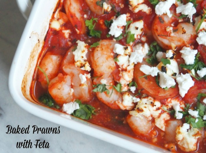 Baked prawns with feta